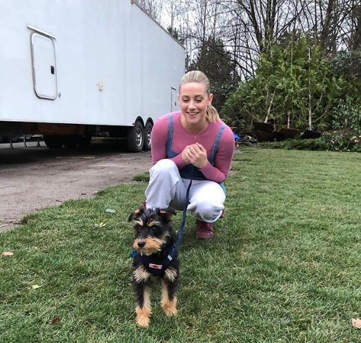 Lili Reinhart with her pet dog