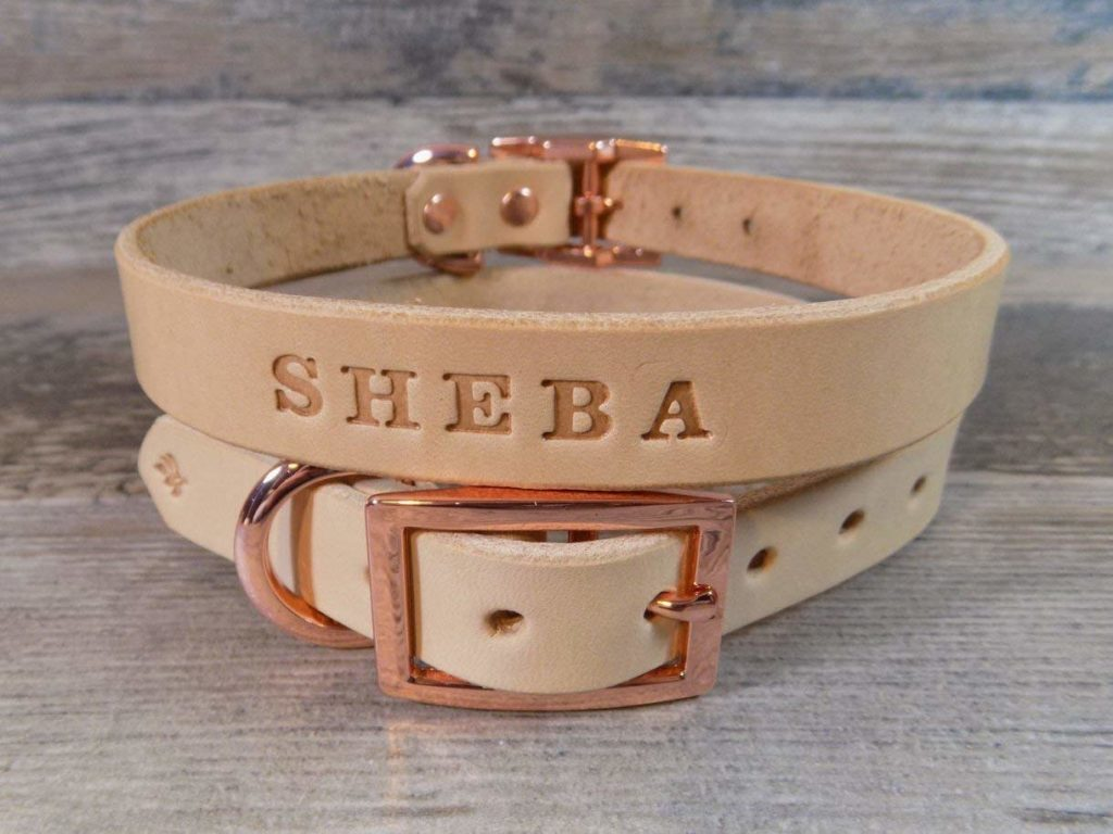 Handmade Personalized Natural Veg Tan Leather Dog Collar with Rose Gold -Tone Hardware and FREE Engraved Name, Choose Your Font