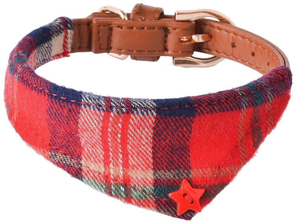 PUPTECK Bandana Style Leather Dog Collar Cute Plaid Scarf for Small Pet