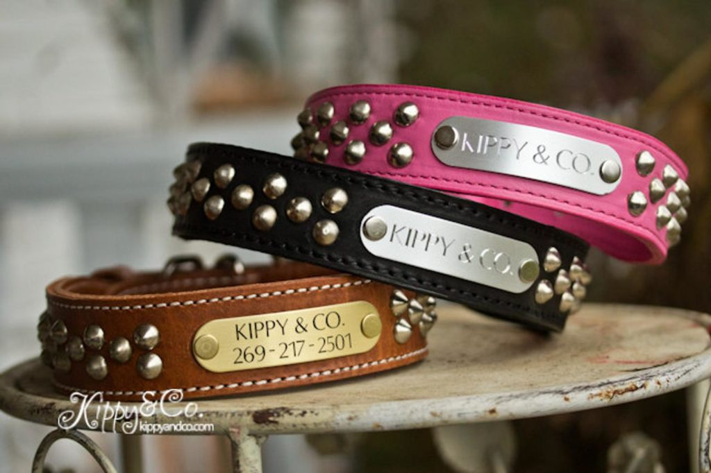 Personalized studded dog collar by Kippy And Co