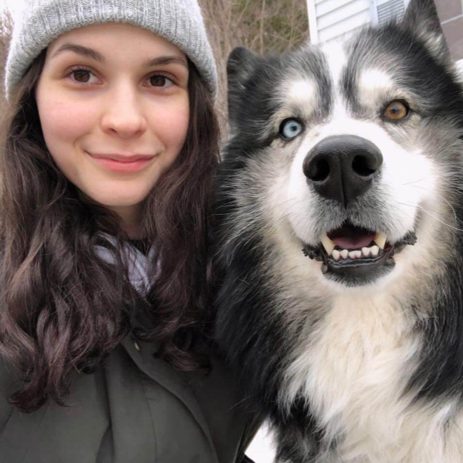 Melanie Hines, 24, with her husky Cooper that her family bought her eight years ago