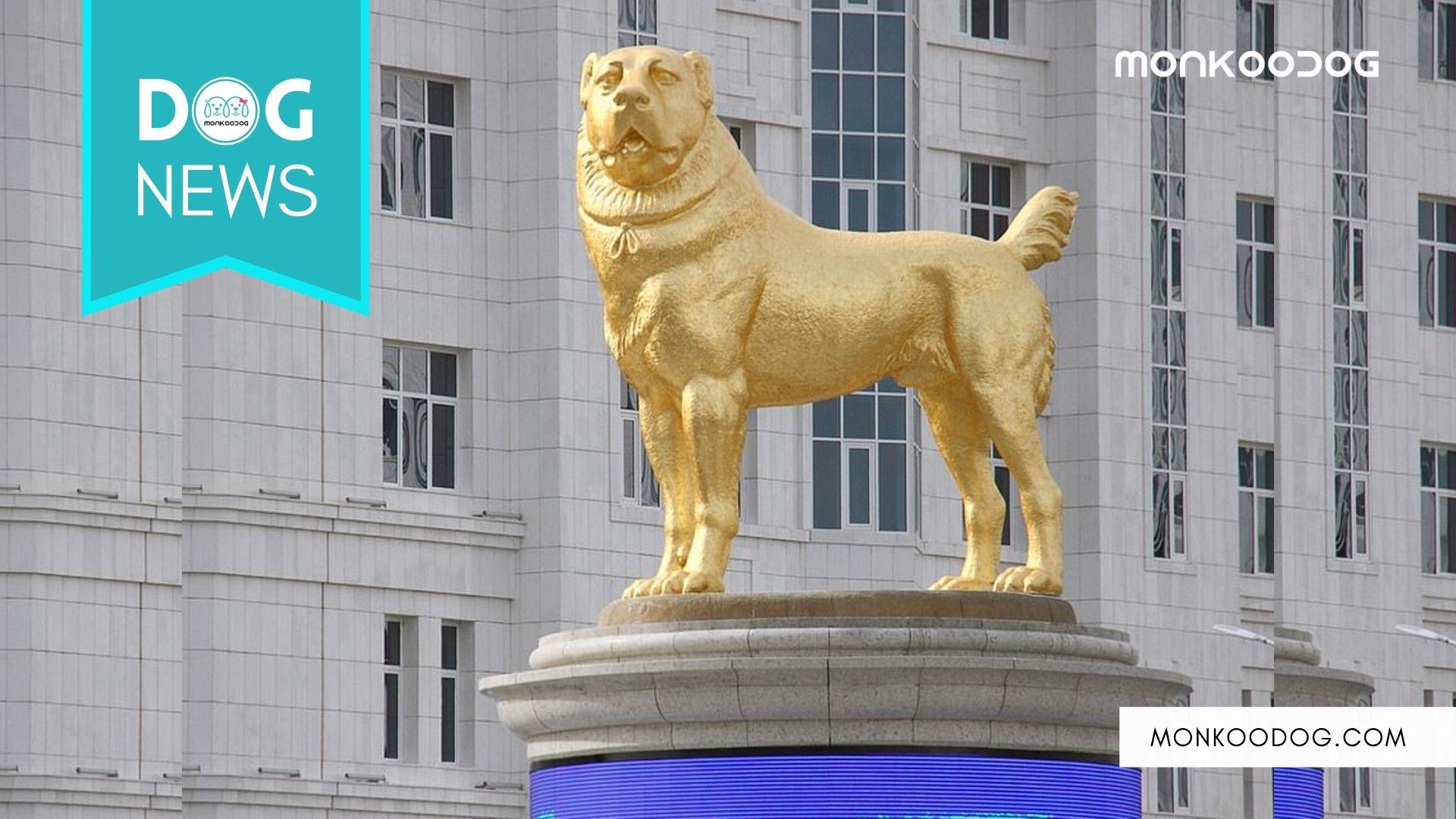 Turkmenistan Gets A Huge Dog Statue Made Of Gold
