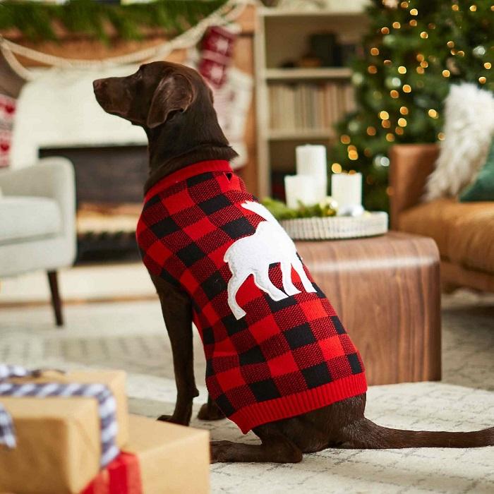 Plaid Moose Dog & Cat Sweater