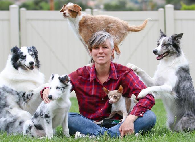 Emily Larlham with dog group