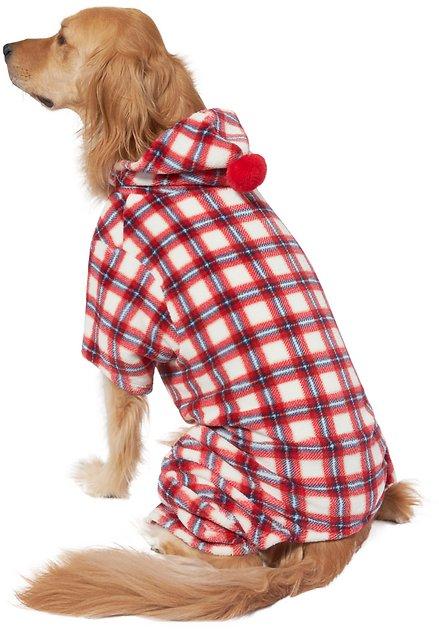 Red Plaid Pom Pom Dog Pajama